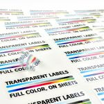 Transparent labels on sheets