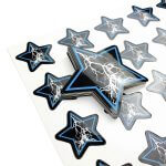 Star shaped glossy stickers