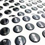 Chrome silver 3D epoxy stickers