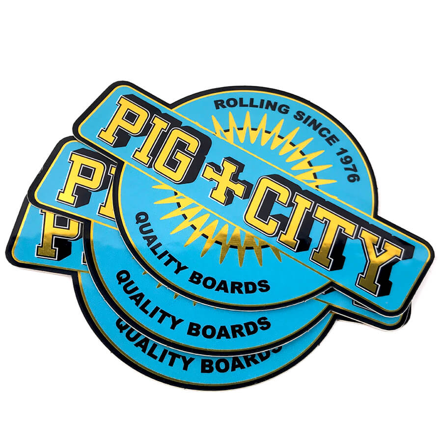 Pig city gold mirror vinyl stickers for Miroir stickers