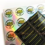 Holographic and mirror gold custom stickers on sheets